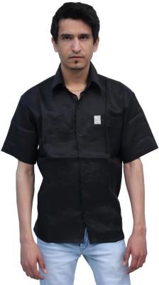 Romano Men's Solid Formal Linen Black Shirt