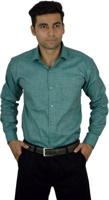 Studio Nexx Men's Solid, Woven Formal Green Shirt