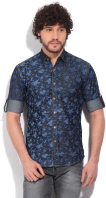 High Star Men's Floral Print Casual Blue Shirt