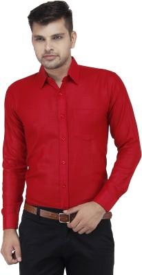 LEAF Men's Solid Formal Red Shirt