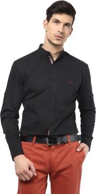 Velloche Men's Solid Casual, Festive Black Shirt