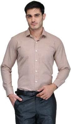 Harvest Men's Solid Formal Brown Shirt