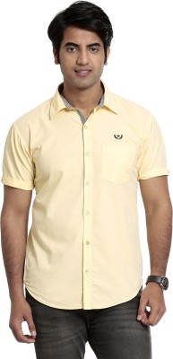 High Hill Men's Solid Casual Yellow Shirt