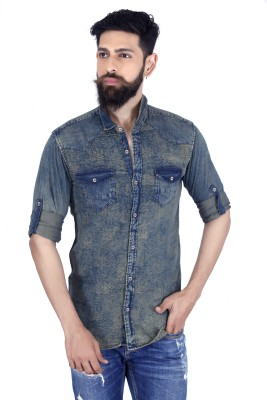 MOZAC Men,s Printed Casual Denim Multicolor Shirt