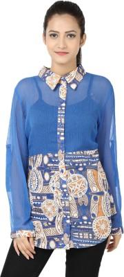 Adhaans Women,s Printed Casual Blue Shirt