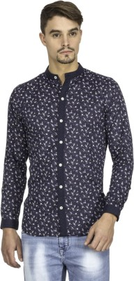 Mayank Modi Men's Printed Casual Blue Shirt