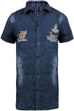 Jazzup Boys Embroidered Casual Blue Shir...
