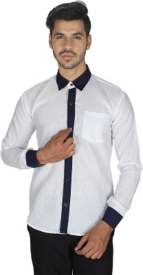 Shaurya-F Men's Solid Formal White Shirt