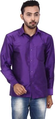 KENRICH Men's Solid Formal Purple Shirt