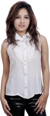 Fadjuice Women's Solid Party White Shirt
