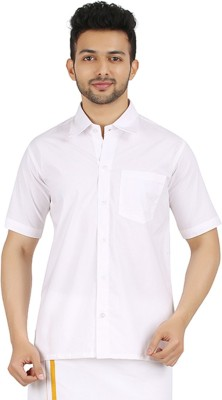 MEENAVISION Men's Solid Formal White Shirt