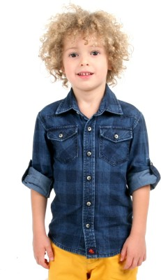 Cherry Crumble California Baby Boy's Checkered Casual Blue Shirt