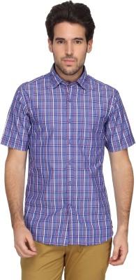 Denimlab Men's Checkered Casual Blue Shirt