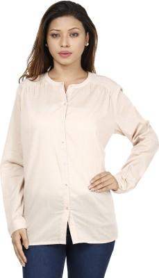 Miway Women's Solid Casual Beige Shirt
