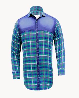 Yzade Men's Checkered Casual, Party Dark Green Shirt
