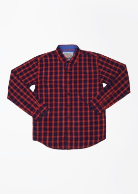 Gini & Jony Boy's Checkered Casual Red Shirt