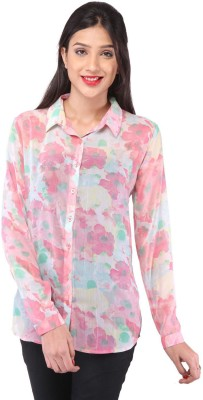 Purys Womens Printed Casual Pink Shirt