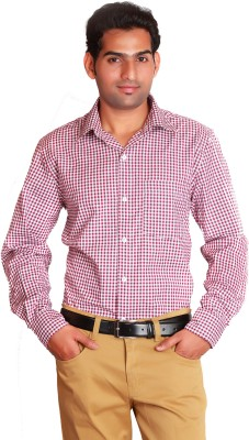 Swank Men's Checkered Casual Pink Shirt