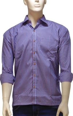 EXIN Fashion Men's Checkered Casual Blue, Brown Shirt
