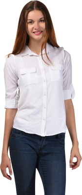 LA ATTIRE Women's Solid Casual White Shirt