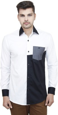 Swiss Culture Men's Solid Casual White, Black Shirt