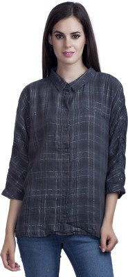 MansiCollections Women's Checkered Casual Grey Shirt