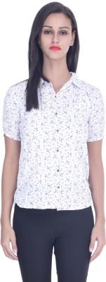 Tina Fashion Women's Printed Formal White Shirt