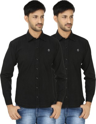 Hi Man Men's Solid Casual Black Shirt