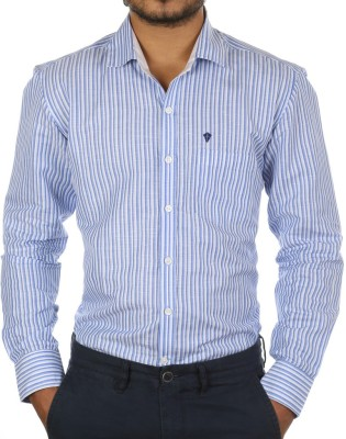 FORTY ONE FITZROY Men's Striped Casual Blue Shirt