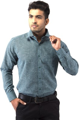 Indian Weller Men's Printed Formal Blue Shirt