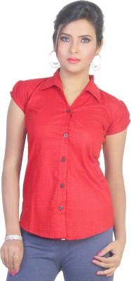 Ten on Ten Women's Printed Casual Red Shirt