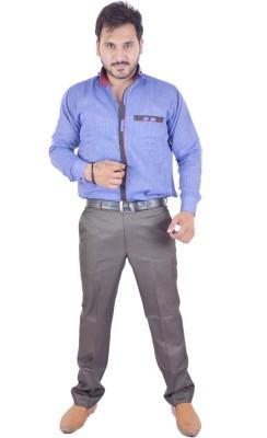 Shahanshah Enterprises Men's Solid Casual Dark Blue Shirt