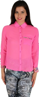 Holidae Women's Solid Casual Pink Shirt