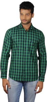 V Seven Men's Checkered Casual Green, Dark Blue Shirt