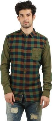 DESPERADO Men's Checkered Casual Green, Dark Blue, Brown Shirt