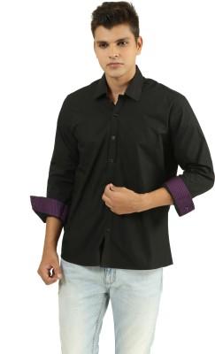 Frissk Men's Solid Casual Black Shirt