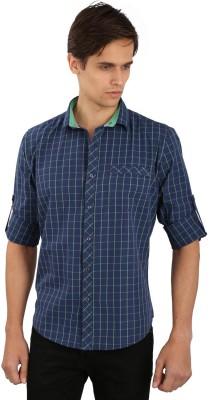 Eden Elliot Men's Checkered Casual Green, Blue Shirt
