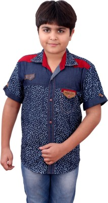 Sunday Casual Boy's Printed Casual Blue Shirt