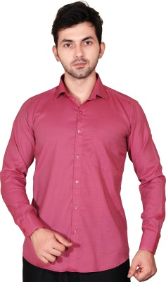 Fabrobe Men's Solid Casual Red Shirt