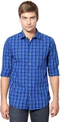 Peter England Men's Checkered Casual Blue Shirt