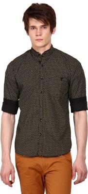 I-Voc Men,s Printed Casual Black, Yellow Shirt