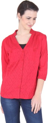SS Women's Solid Casual Red Shirt