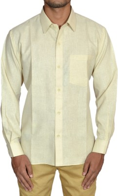 THE BAALAMS Men's Self Design Formal Gold Shirt