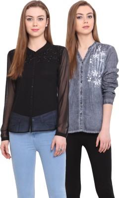 Porsorte Women's Solid Casual Blue, Black Shirt