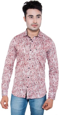GreyBooze Men's Floral Print Casual Red Shirt