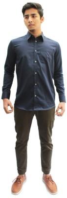 Privee Paris Men,s Solid Casual Dark Blue Shirt