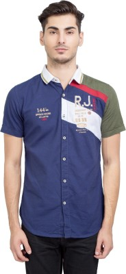 Riot Jeans Men's Embroidered Casual Dark Blue Shirt