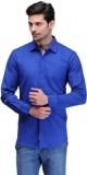 Alian Men's Solid Casual Dark Blue Shirt