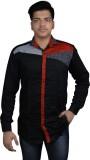 Zedx Men's Solid Formal Black Shirt