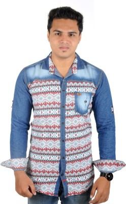 Yomaa Men's Printed Casual Denim Multicolor Shirt